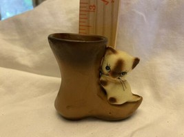 Vintage Enesco cat on Cowboy boot figurine Japan collectible - $13.08
