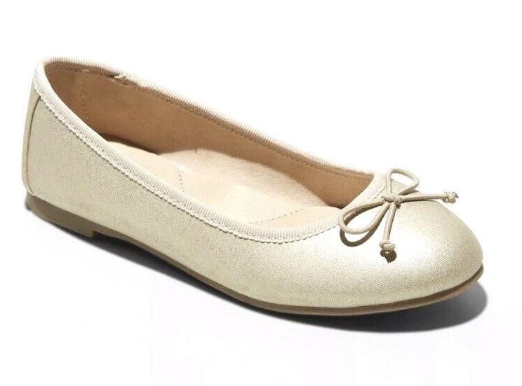 Cat & Jack Girls' Satin Gold Stacy Slip-On Ballet Flats