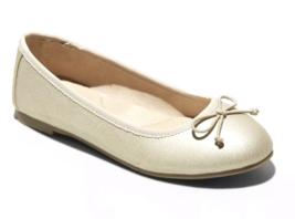 Cat & Jack Girls' Satin Gold Stacy Slip-On Ballet Flats image 1