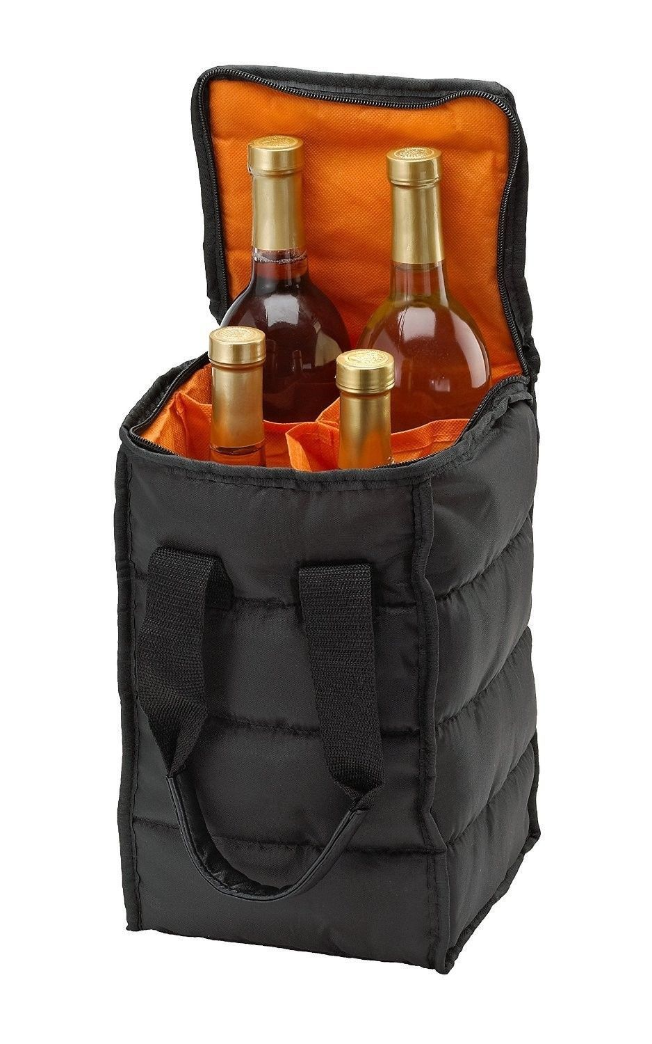 Wine Bottles Carrier Beach Picnic Cooler Travel Tote Bag Zippered Case Holder
