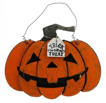 "Allstate 13.5"" Orange Black ""Trick or Treat"" Light Up Pumpkin Halloween ... - $21.77"
