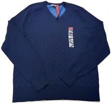 Merona Mens Long Sleeved V Neck Sweater Blue Dot Pattern Size Small - $17.99
