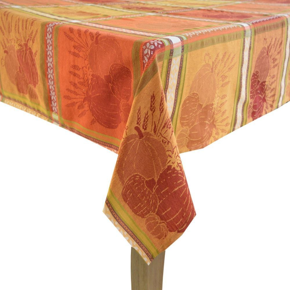 Primary image for Celebrate Fall Together Pumpkin Jacquard Tablecloth 60 x 84 Oblong