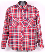 ARGUS Lined Flannel Shirt-L-Red Tan Plaid-Quilted Lining-Outdoor-Winter ... - $43.00