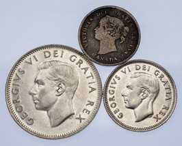 Canada Lot of 3 Coins (1891 - 1951 5C - 25) VF to Uncirculated Condition - $39.59