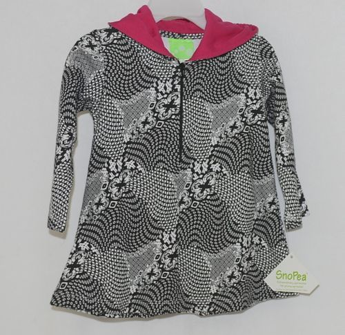 Snopea Childrens Geometric Design Black White Hot Pink Pullover Hooded Tunic 18M