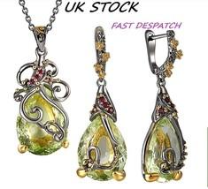 Dreamcarnival1989 Olivine Water Drop CZ BOHEMIAN Earrings & Necklace Set... - $52.65