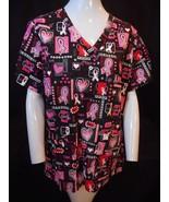 Peaches Uniform Breast Cancer Aware October Black Sparkly Doctor/Nurse S... - $29.95