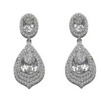 Glitzy Pave Cubic Zirconia Triple Halo Teardrop Dangle Earrings - $54.44