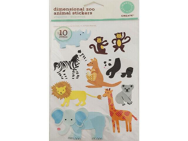 Martha Stewart Crafts Dimensional Zoo Animal Stickers #MA350016