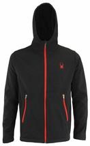 Spyder Men's Black Full Zip Hooded Waterproof Softshell Hydroweb Jacket ... - $47.99