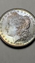 1881S Toned MORGAN SILVER $1 DOLLAR Coin Lot# 519-21 image 2