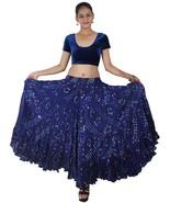 Rajasthani Jaipur Jupe Danse du ventre en coton à 25 verges 4 rangs Bleu... - $52.28