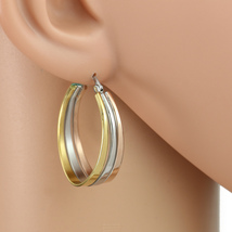 Contemporary Tri-Color Silver, Gold & Rose Tone Hoop Earrings- United Elegance image 1
