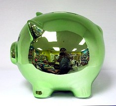 Blowfish Ceramic Piggy Bank - Green Metallic Plating - $26.30