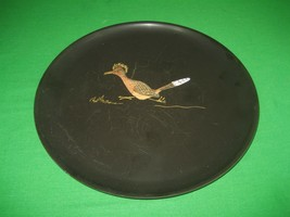Black Plastic Vinyl Couroc of Monterey CA Road Runner Embossed Serving Tray - $13.98
