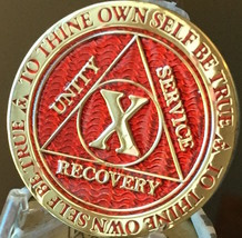 10 Year AA Medallion Red Gold Plated Alcoholics Anonymous Sobriety Chip ... - $17.99