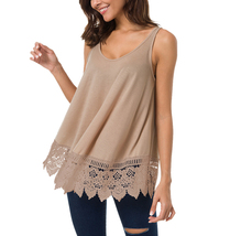 Women's Sleeveless Swing Loose Casual Fit Lace Tank Top - $19.99