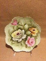 """Lefton Heritage Rose Green 8"""" Hanging Plate Hand Painted, Excellent Cond... - $16.99"""