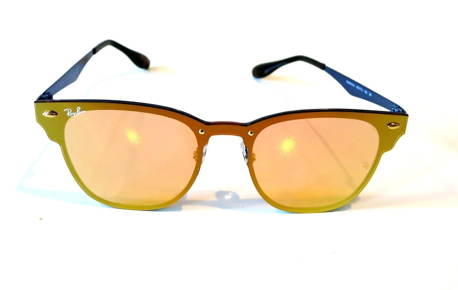 342d8e7ee4 Rayban Blaze Clubmaster sunglasses RB3576N 9037 7J Blue Orange Yellow 3576  Club