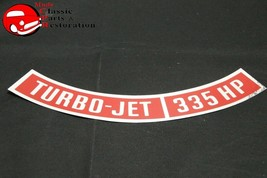 Chevy Turbo Jet 335 Horsepower Air Cleaner Lid Edge Decal Red Silver New - $12.50
