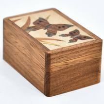 Northwoods Wooden Parquetry Country Garden Butterflies Mini Trinket Box image 3