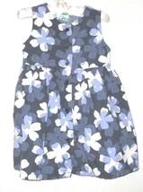 GIRLS BLUE FLOWER PRINT BUTTON DOWN DRESS SIZE L 12-18 MOS. - $3.00