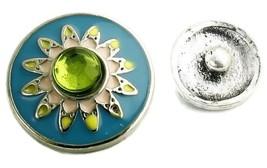 Interchangeable Button Snap Jewelry Starburst Blue Sun Flower 18mm 254-3 - $5.92
