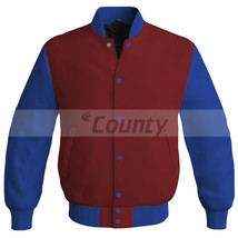New Letterman Baseball College Super Bomber Jacket Sports Maroon Blue Satin - $49.98+