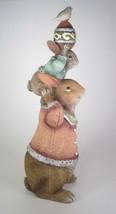 "13"" Tall Rabbit Bunny Egg Bird Stacked Totem Figurine Easter Tabletop Decor - $32.62"