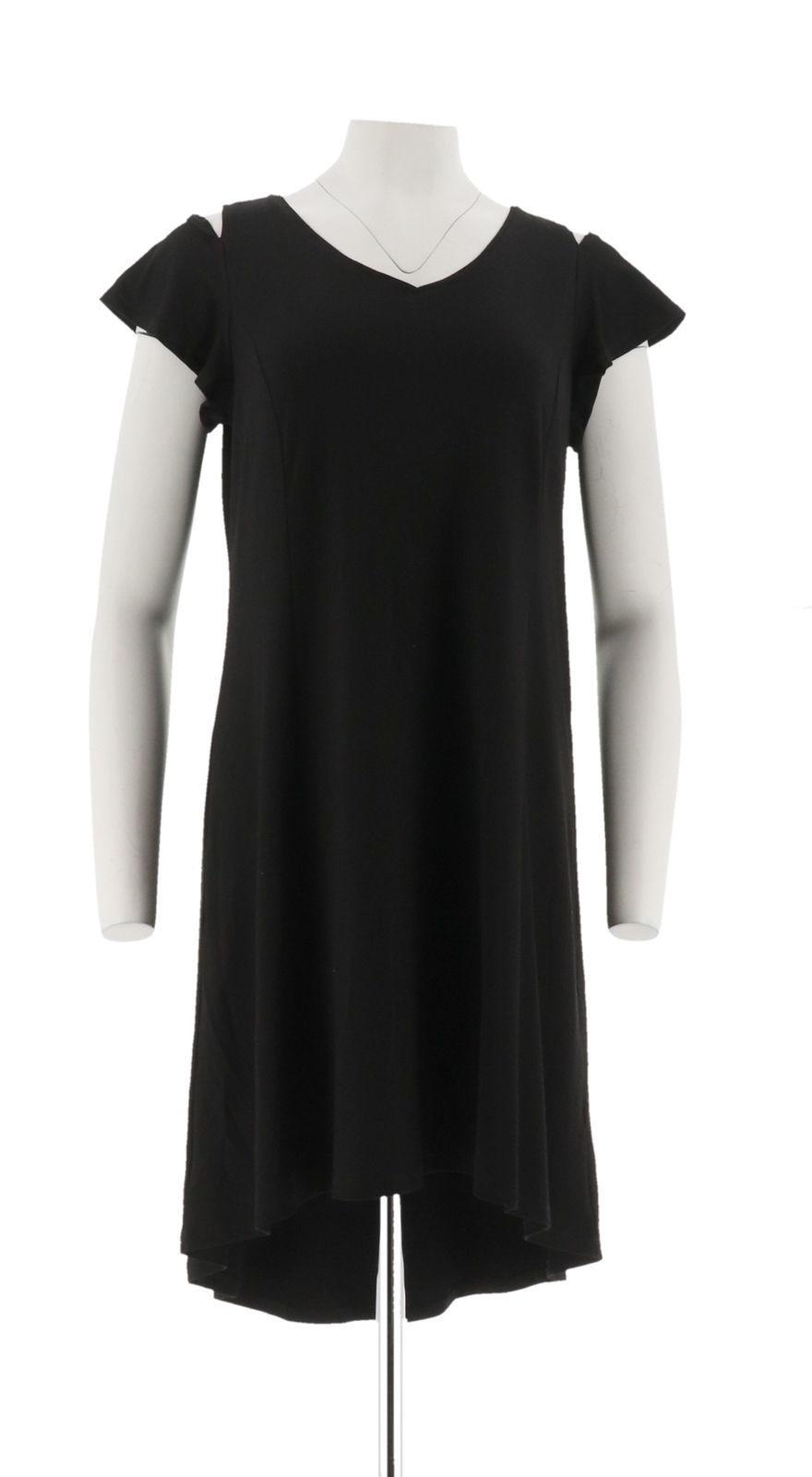 H Halston Petite Knit Crepe Dress Cutout Black PS NEW A308103