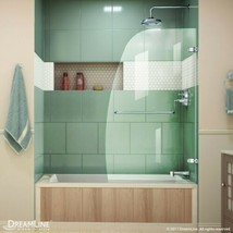 "DreamLine Aqua Uno 34"" x 58"" Curved Frameless Glass Tub/Shower Door, Chrome - $220.49"