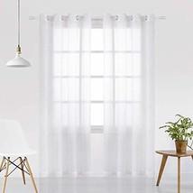 VISIONTEX White Cut Flower Long Strip Sheer Curtains Grommet Semi Sheer ... - $18.05