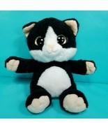 "Kitty Cat Plush Keel Toys Black White 7"" Big Gold Glitter Eyes Stuffed A... - $24.74"
