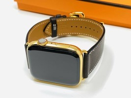24K Gold Plated Apple Watch SERIES 5 HERMES 44mm Deployment Buckle Dark ... - $2,374.05