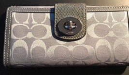 "Coach Grey/Silver 7 1/4"" x 4"" Wallet  Pre-owned. Great Condition. RARE! - $75.00"