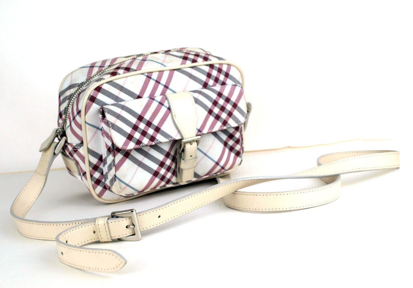 cde1b0796bfa S l1600. S l1600. Previous. Auth Burberry London Blue Label Nova Check  Canvas   Leather Shoulder Purse Bag
