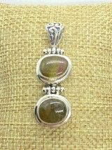 Green & Pink Tourmaline Stones Set In Sterling Silver Pendant W/ Scroll ... - $75.00