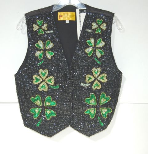 JC001 USA VST01 Black Green Gold Shamrock Sequined Vest Small