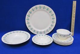 8 Pc Place Dinner Set Metlox Cream Pottery Speckle Turquoise Navajo Popp... - $39.55