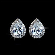 Platium Plated Sparkling Austrian Crystal and Rhinestone Water Drop Stud Earring