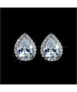 Platium Plated Sparkling Austrian Crystal and Rhinestone Water Drop Stud... - $49.95