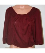 "A.N.A. Burgundy Large Blouse Scoop Neck Chest: 43"" Banded Hem 3/4 Sleeve... - $12.59"