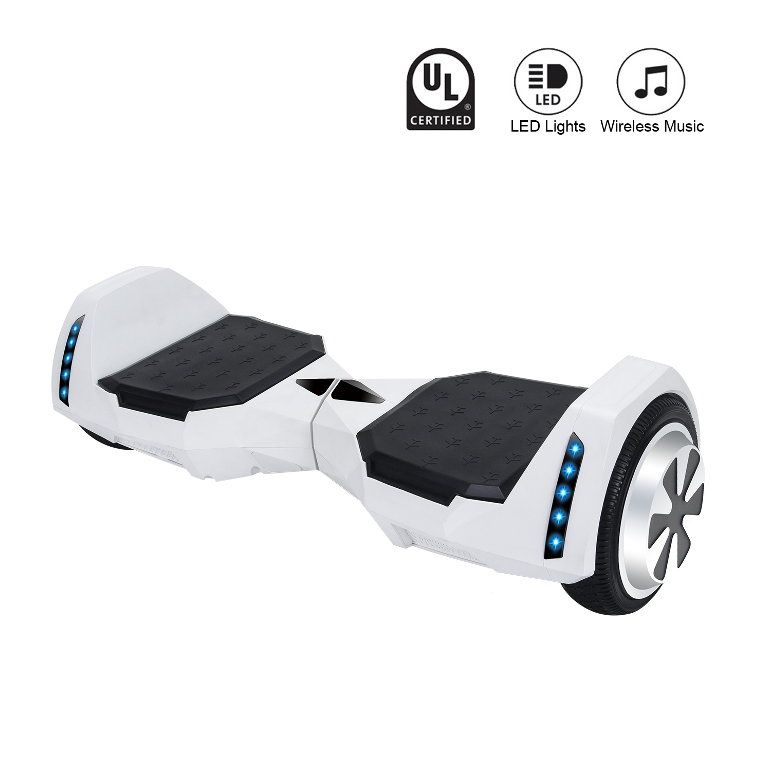 "MR6 White Bluetooth Batwing Hoverboard 6.5"" - UL2272 certified"