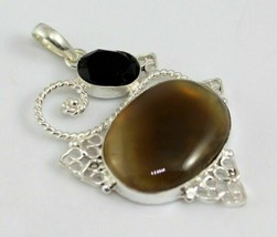 Botswana Agate-Black Onyx Stone Silver Overlay Pendant Jewelry 17 Gr. F-533-1_17 - $4.80