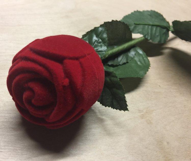 Vintage Clear Rhinestone Stud Earrings in Red Flocked Long Stem Rose Gift Box image 3