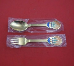 Christmas by A. Michelsen Sterling Silver Fork and Spoon Set 2pc 1979 Ve... - $157.41