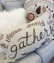 Pottery Barn Gather Lumbar Pillow Cover Neutral 16x26 Ebmroidered Thanksgiving - $51.40