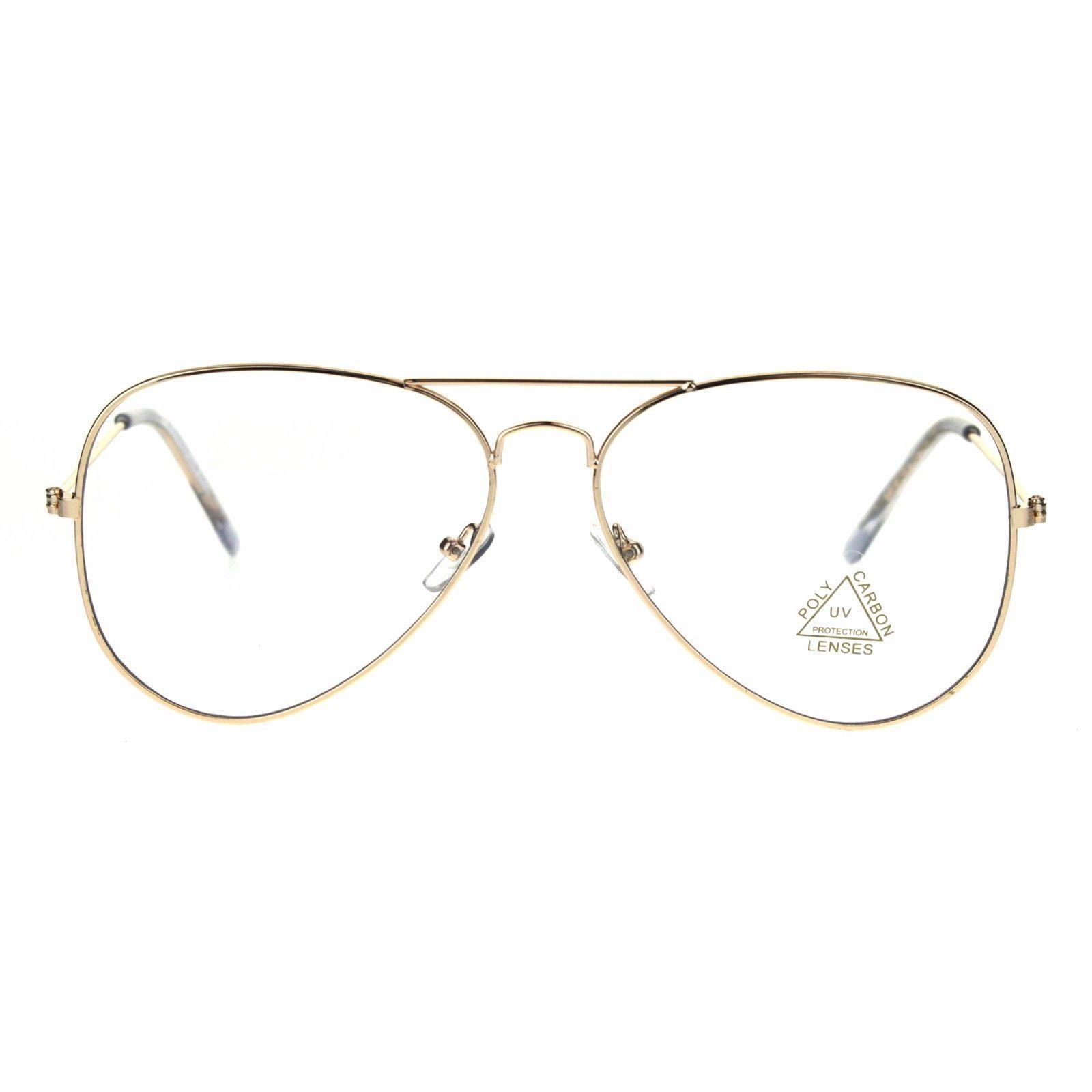 a56baae3f297e Classic Gold Retro Vintage Clear Flat Lens Pilots Metal Rim Eye Glasses