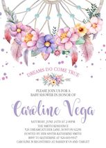 Dreamcatcher Watercolor Boho Baby Shower Invitation Personalized Pink La... - £0.70 GBP
